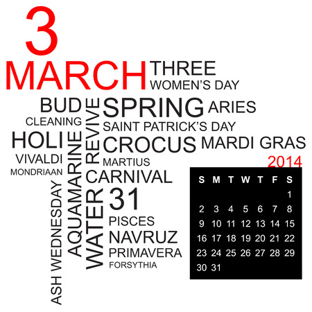 word cloud with twentysomething facts and figures about march 2014, including calendar of the month, vector Vector