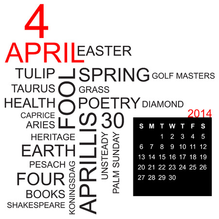 sports programme: word cloud with twentysomething facts and figures about april 2014, including calendar of the month, vector