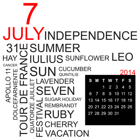word cloud with twentysomething facts and figures about july 2014, including calendar of the month, vector Vector