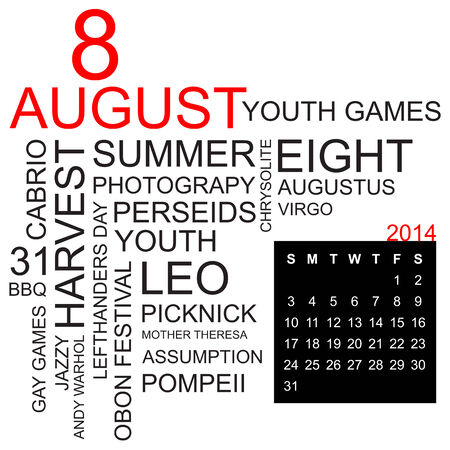 assumption: word cloud with twentysomething facts and figures about august 2014, including calendar of the month, vector