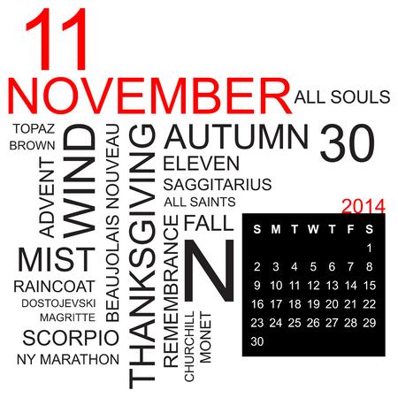 programme: nube de palabras con hechos y cifras sobre veintea�eros noviembre de 2014, incluyendo el calendario del mes, vector