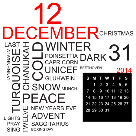 sports programme: word cloud with twentysomething facts and figures about december 2014, including calendar of the month, vector Illustration