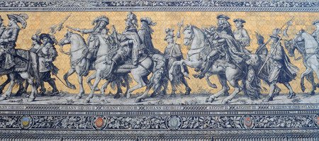 detail of giant antique mosaic picturing monarchs over the centuries, in the streets of dresden, germany