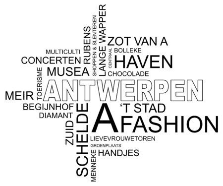 word cloud around Antwerp, city in Belgium, Flanders, dutch and Flemish  Vector