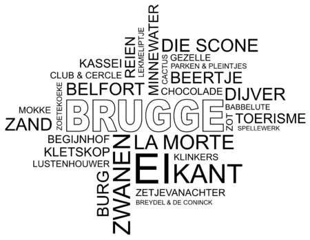 belfry: word cloud around  city in Belgium, Flanders,  dutch and Flemish  Illustration