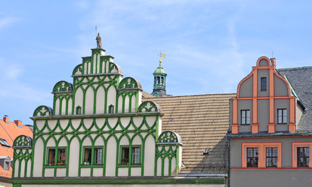 Colourful baroque gables on the market square in Weimar, Thuringen, Germany, Europe