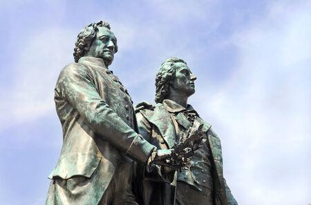 Part of the original antique monument of Goethe and Schiller, bronze statue, Weimar, Germany
