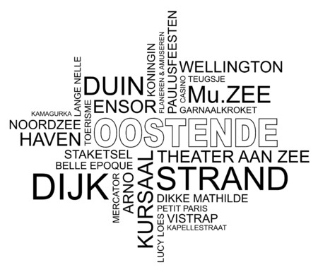 belle: word cloud around ostend, city in belgium, flanders, vector image, dutch and flemish version