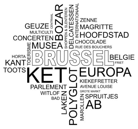 polyglot: word cloud around brussels, capital of belgium and europe, vector image, dutch and flemish version Illustration