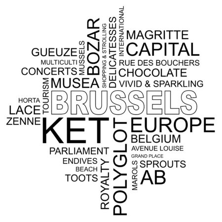 polyglot: word cloud around brussels, capital of belgium and europe, vector image