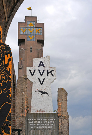 DIKSMUIDE, BELGIUM – CIRCA AUGUST 2013 – The Yser Tower, a peace monument and burial place for fallen soldiers in World War One, is preparing for next year's memorial circa August 2013