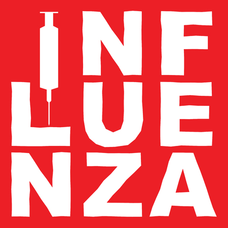 snot: the word influenza and a syringe in white on red, vector Illustration