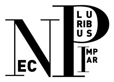 pluribus: Nec pluribus impar (Latin) or I am the greatest, in clean, strong black and white typographic  image, vector