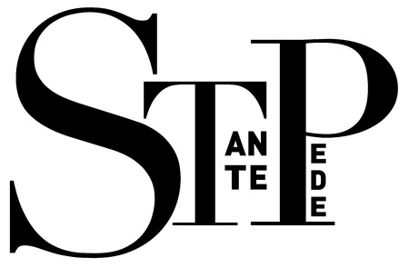 without delay: Stante pede (Latin) or Without further delay, in clean, strong black and white typographic  image