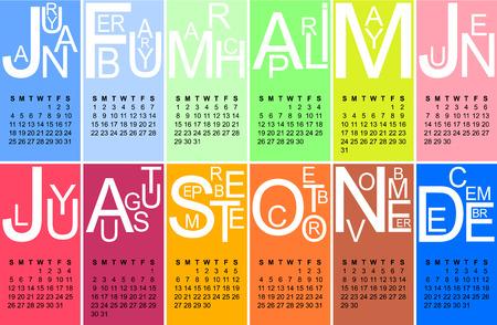 jazzy: Colorful jazzy 2015 calendar, vector, eps 10