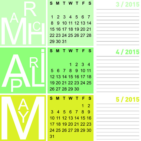 jazzy: jazzy seasonal calendar spring 2015 including march, april and may, vector, eps10