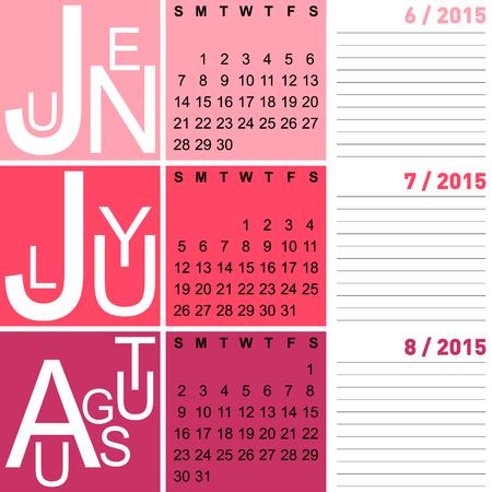 programme: jazzy estacional del calendario de verano 2015 incluyendo junio, julio y agosto, vector, eps10