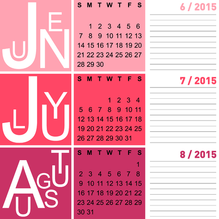 jazzy: jazzy seasonal calendar summer 2015 including june, july and august, vector, eps10