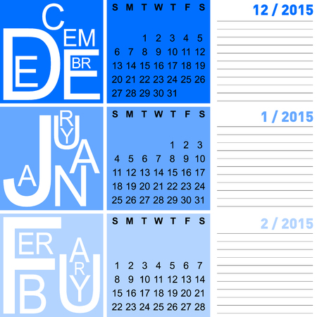 jazzy: jazzy seasonal calendar winter 2015 including december, january and february, vector, eps10