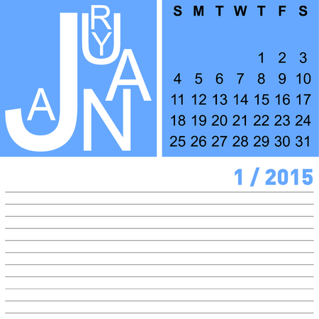 jazzy: jazzy monthly calendar january 2015, vector, eps10 Illustration