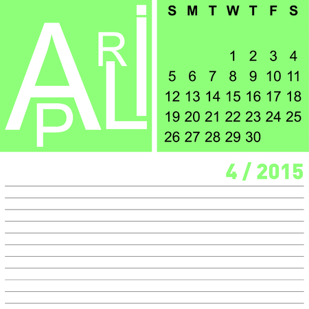 jazzy: jazzy monthly calendar april 2015, vector, eps10