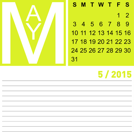 jazzy: jazzy monthly calendar may 2015, vector, eps10 Illustration