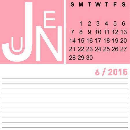 jazzy: jazzy monthly calendar june 2015, vector, eps10