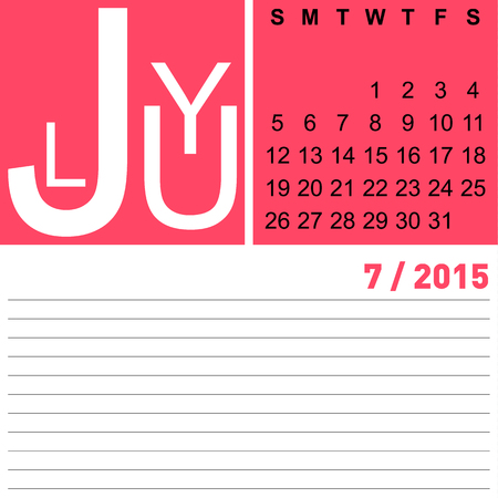 jazzy: jazzy monthly calendar july 2015, vector, eps10