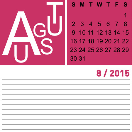 jazzy: jazzy monthly calendar august 2015, vector, eps10