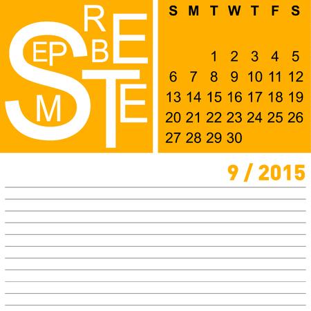 jazzy monthly calendar september 2015, vector, eps10