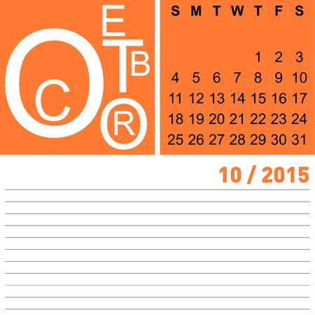 kalender oktober: jazzy maandkalender oktober 2015, Vector, eps10
