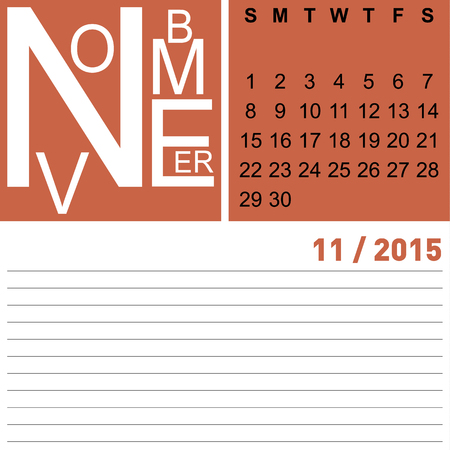 jazzy monthly calendar november 2015, vector, eps10 Illustration