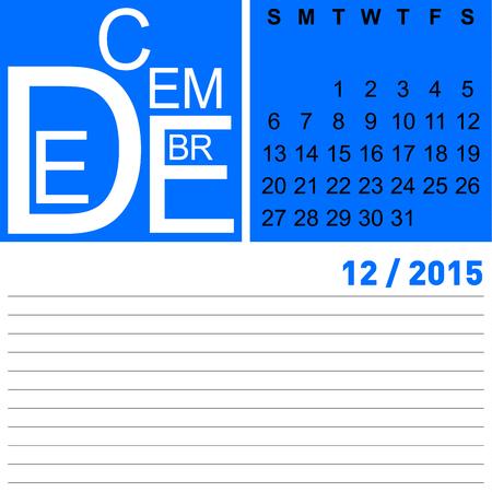 programme: jazzy diciembre calendario mensual de 2015, vector, eps10