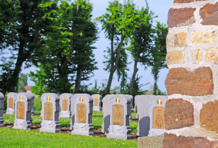 world war 1: graves of belgian soldiers fallen in world war 1 in oeren, flanders, belgium, intentional blur Stock Photo