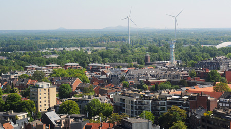 limburg: View over Hasselt with closed coal mines in the background, Limburg, Belgium, Europe