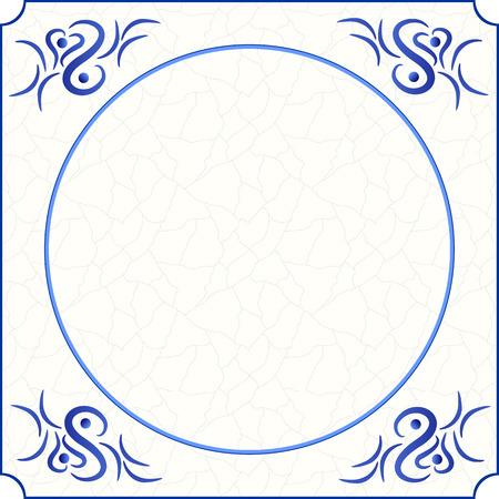 텍스트, 이미지 또는 사진, 벡터, eps 10 블루, 크림 및 회색 grunge 배경 및 룸 그늘에서 추상 그림과 함께 전통적인 delft 블루 타일의 원래 디자인