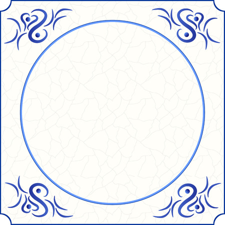 room for text: Original design of a traditional delft blue tile with abstract illustration in shades of blue, cream and grey grunge background and room for text, image or photo, vector, eps 10 Illustration