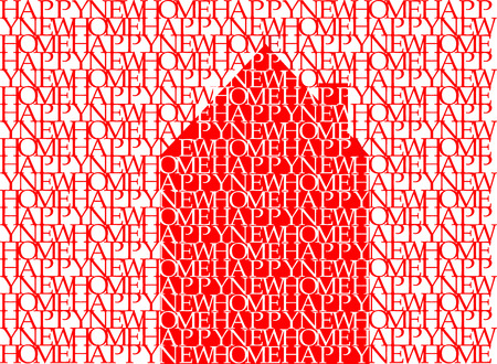word art: Happy new home in red on white, typographic illustration, word art, vector, eps 10