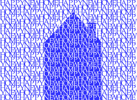 word art: Happy new home in blue on white, typographic illustration, word art, vector, eps 10 Illustration