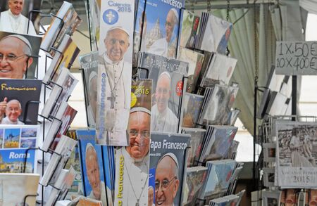 ROME, ITALY APRIL 4, 2014: Pope Francis, recently elected as head of the Roman Catholic Church, is a popular subject for merchandising products zoals calendars Editorial