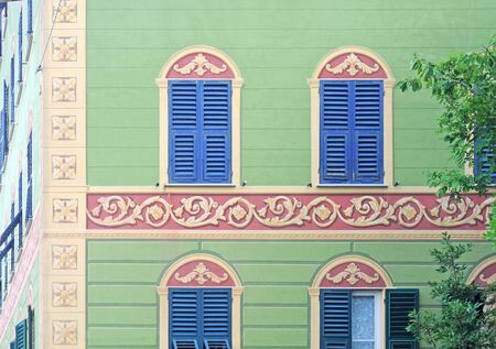 Typical trompe-loeil or paintery illusions on buildings of historical significance in Liguria, Italy