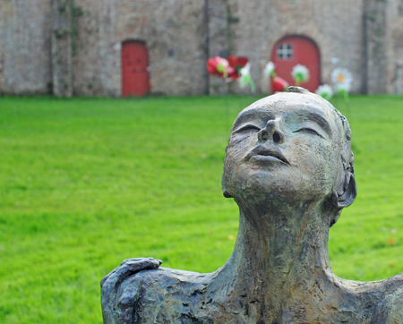 annie: BRUGES, BELGIUM – AUGUST 27, 2014: Art by Annie Vanlerberghe in the annual open air exhibition Lissewege, Sculptures in the White Village. Over 100 sculptors of contemporary art exhibit in this 20th edition