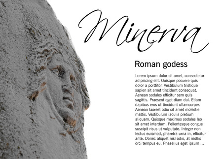 minerva: Shield on statue of the roman godess Minerva isolated on white, selective focus,  in Ostia Antica, Rome, Italy, easy removable sample text Stock Photo