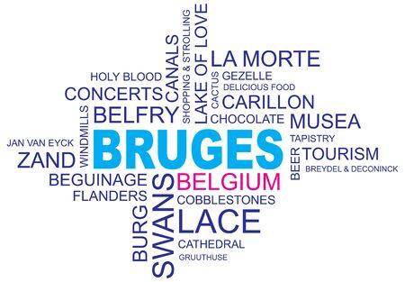 word cloud around bruges, city in belgium, flanders, vector image