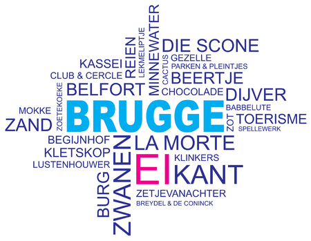 holy place: word cloud around bruges, city in belgium, flanders, vector image, dutch and flemish version  Illustration