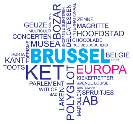 polyglot: word cloud around brussels, capital of belgium and europe, vector image, dutch and flemish version