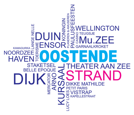 queen's theatre: word cloud around ostend, city in belgium, flanders, vector image, dutch and flemish version  Illustration