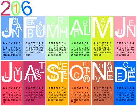 calendar: Colorful jazzy 2016 calendar, vector