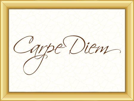 carpe diem: illustration of a basic golden frame with text Carpe Diem on vintage background