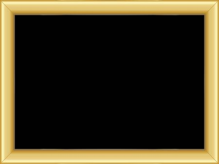 text room: illustration of a basic golden frame with room for text on black background Illustration